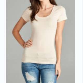 Simple Beige Round Neck T-Shirt