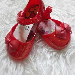 JELLY SHOES RIBBON RED