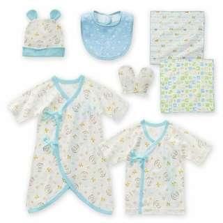 (清貨特價) 日本進口,日本牌子初生嬰兒內衣出院套裝(7件),尺碼:50-70cm,new born baby set