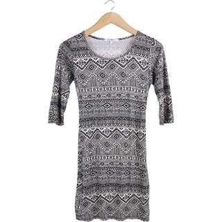 New Look Off White And Black Tribal Mini Dress