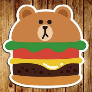 LINE Friends Brown Burger Cartoon Sticker Gloss Waterproof