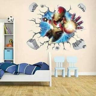 Wallpaper 3D Wall Sticker Ironman Iron Man Avenger Poster Promo Murah