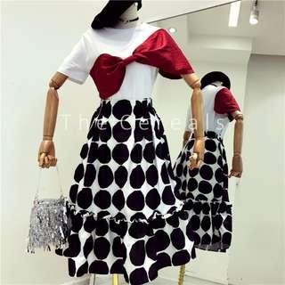 TC2333 Korea 2 Pieces Big Bow Top + Polka Dot Designer Skirt (set)