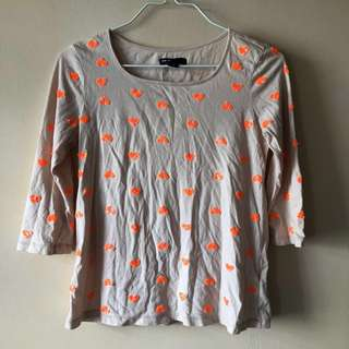 gap kids neon orange patterned long sleeve top