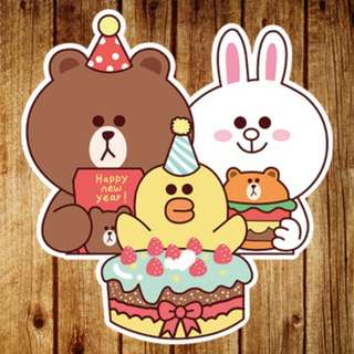 LINE Friends Birthday Party Cartoon Sticker Gloss Waterproof