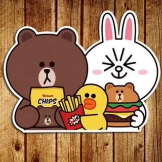 LINE Friends Eating Fast Food Cartoon Sticker Gloss Waterproof