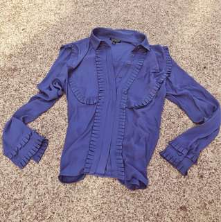 Topshop gunmental grey cute blouse sz 10