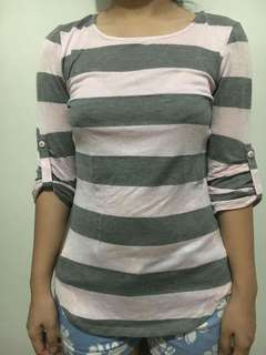 F21 stripped 3/4 sleeves