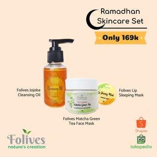 Folives Ramadhan Skincare Set - Jojoba Cleansing Oil, Matcha Green Tea Face Mask & Lip Sleeping Mask