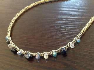金色繞絲藍珠頭箍