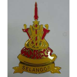 Selangor State Triangle Emblem Badge Gold Version for Car Number Plate
