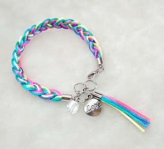 Rainbow Braided Rope Love Charm Glass Beads Bracelet