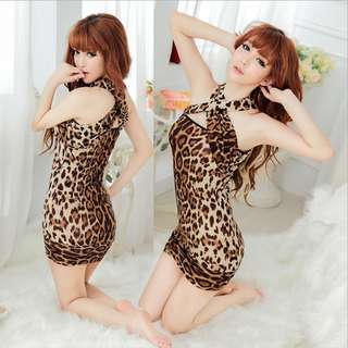 TCWK Sexy Women Leopard Brown Sexy Lingerie Nightdress Sleepwear E208