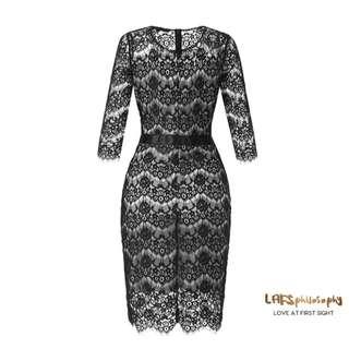 BL EYELASH LACE DRESS (BLACK)