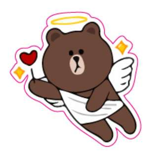 LINE Friends Brown Angel Cartoon Sticker Gloss Waterproof