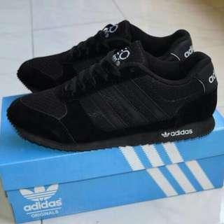 Jual Sepatu Sekolah Adidas Neo Full Black Hitam Anak Pria cowo Laki Murah