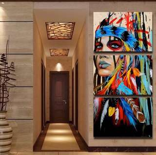 Stunning red indian 3x hand painting 1400 height x600 wide