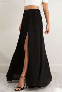Showpo Black Maxi Wrap Skirt