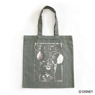 Japan Disney Accommode Minnie Mouse Khaki Metallic Print Tote Bag