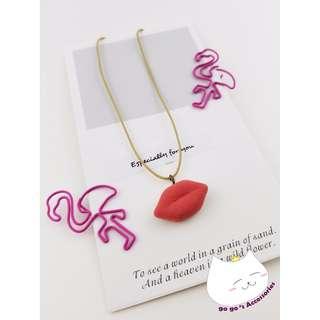 💋#03.17.78-日系紅唇吊飾頸繩💋