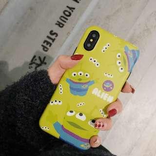 ~手機殼IPhone6/7/8/plus/X : 綠底三眼仔全包黑邊磨砂軟殼