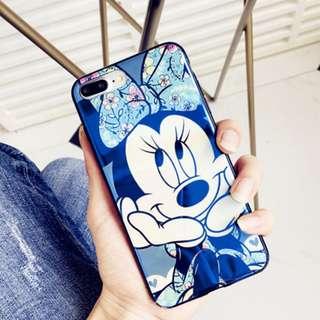 ~手機殼IPhone6/7/8/plus/X : 可愛米妮藍光全包黑邊軟殼