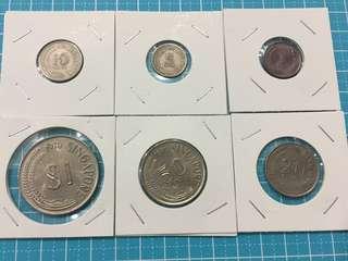 Singapore Circulated Coin Sets 1,5,10,20,50 Cents & $1 (6pcs/Set) , Year1970,1971,1972,1973,1974 ( 5 sets)  , Total 30pcs