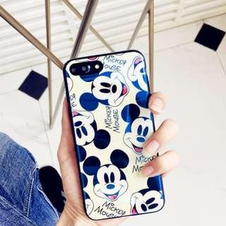 ~手機殼IPhone6/7/8/plus/X : 多頭米奇藍光全包黑邊軟殼