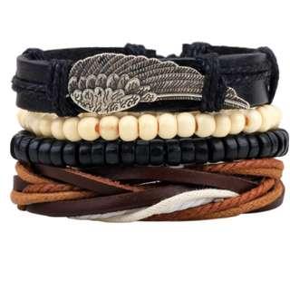 Creative fashion leather wristband (Wings) for men & woman 创意麻绳皮绳腊绳编织手链眼睛配饰手饰