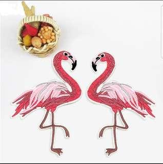1 pair mirror flamingos iron on patches