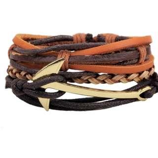 Creative fashion leather wristband (Anchor) for men & woman 创意麻绳皮绳腊绳编织手链配饰手饰