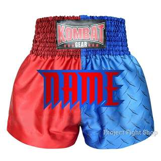 Customize Kombat Gear Muay Thai Boxing MMA Shorts Blue Steel With Red Stars
