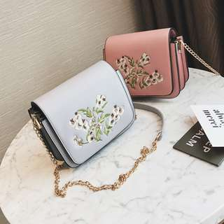 (PO) Embroidery Floral Sling Bag