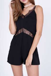 Pretty Black Romper Dress with Lace Detail