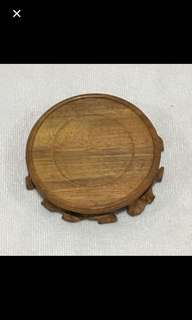 """CLEARANCE SALES {Artwork - Wooden Display/Ornament Stand} Beautiful Diameter 11cm (4 1/4"""") Round Solid Wooden Display Stand"""