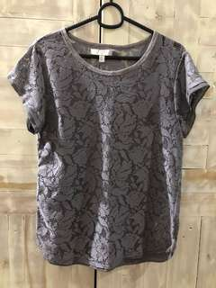 Zara TRF, Gray Floral Lace Top
