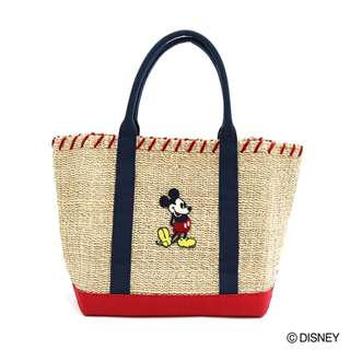 Japan Disney Accommode Mickey Mouse Ivory Abaca × Canvas Tote Bag L