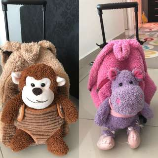 Rolling Backpack  with Removable Plush Stuffed toys