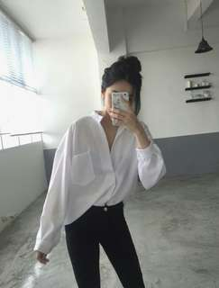 #14 Oversized White Boyfriend Shirt Pocket