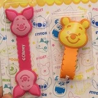 ~卡通數據線耳機線收納器 : 維尼熊(1條)+小豬(1條)