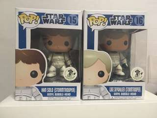 Funko ECCC Han Solo and Luke Skywalker Pop