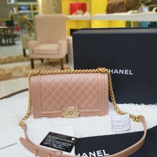 Bnew Chanel Le Boy Old Medium Caviar In Gold Hardware Series 25