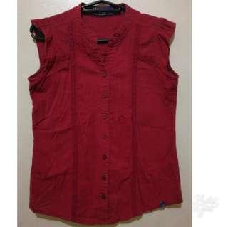 repriced: Dark Red Sleeveless Top