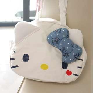 (全新) Hello Kitty 帆布單肩包 卡通 可爱 旅行袋 媽咪包