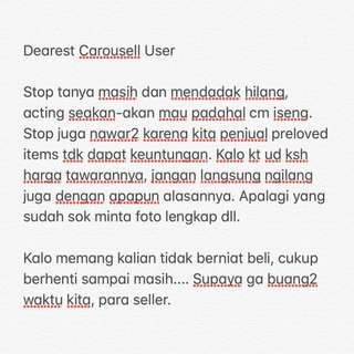 DEAR CAROUSELL SELLER ESPECIALLY BUYERS