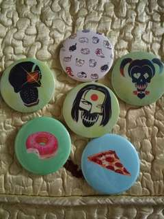 Suicide Squad and Food Button Pins