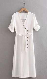 Cream Asymmetrical Button Down Dress