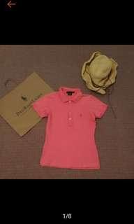 🚚 美國帶回 Ralph Lauren 螢光 桃粉 短版 合身 小馬繡 Polo衫
