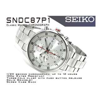 SNDC87P1 SNDC87 5折出售 深水步有門市全新1年保養有單正版正貨 日期星期 計時 SEIKO 精工