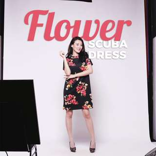 FLOWER SCUBA DRESS